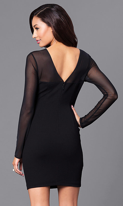 Image of short black party dress with sheer long sleeves. Style: BC-MCP64J29 Back Image