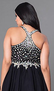Image of burgundy red short plus-size party dress with jewels. Style: DQ-8997Pb Detail Image 4