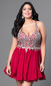 Image of burgundy red short plus-size party dress with jewels. Style: DQ-8997Pb Front Image