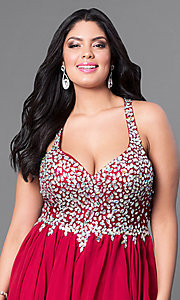 Image of burgundy red short plus-size party dress with jewels. Style: DQ-8997Pb Detail Image 1