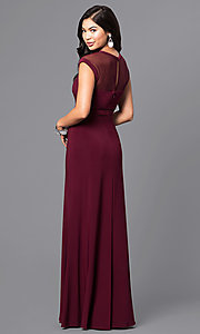 Image of formal long illusion prom dress with cap sleeves. Style: MO-21441 Back Image