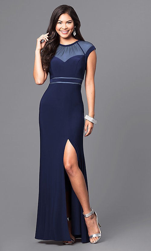 Image of formal long illusion prom dress with cap sleeves. Style: MO-21441 Front Image
