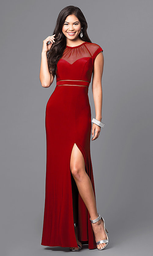 Image of formal long illusion prom dress with cap sleeves. Style: MO-21441 Detail Image 1