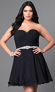 Image of black plus-size short party dress with back corset. Style: DQ-9115Pb Front Image