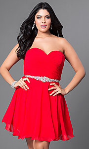 Image of black plus-size short party dress with back corset. Style: DQ-9115Pb Detail Image 1