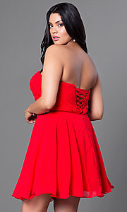Image of black plus-size short party dress with back corset. Style: DQ-9115Pb Back Image