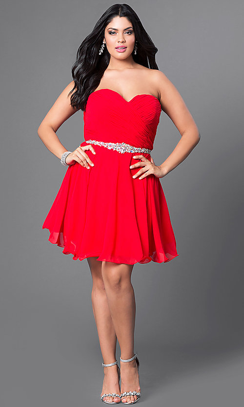 Image of black plus-size short party dress with back corset. Style: DQ-9115Pb Detail Image 2