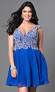 Image of royal blue plus-size short party dress with cap sleeves. Style: DQ-9160Pr Front Image