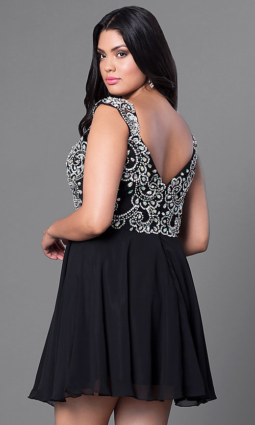 Image of royal blue plus-size short party dress with cap sleeves. Style: DQ-9160Pr Back Image