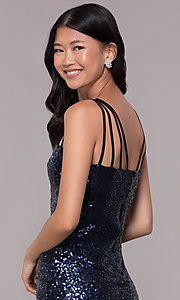 Image of short sequin cocktail party dress in navy blue. Style: MT-8386 Detail Image 2