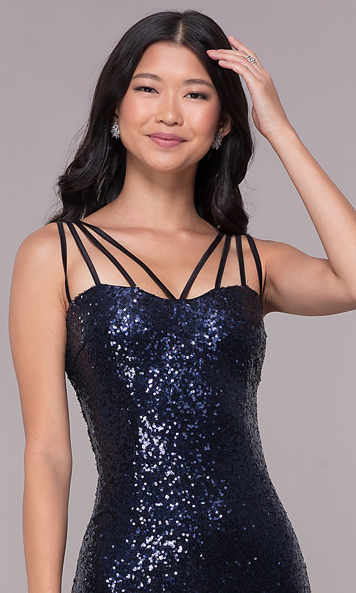 Image of short sequin cocktail party dress in navy blue. Style: MT-8386 Detail Image 1