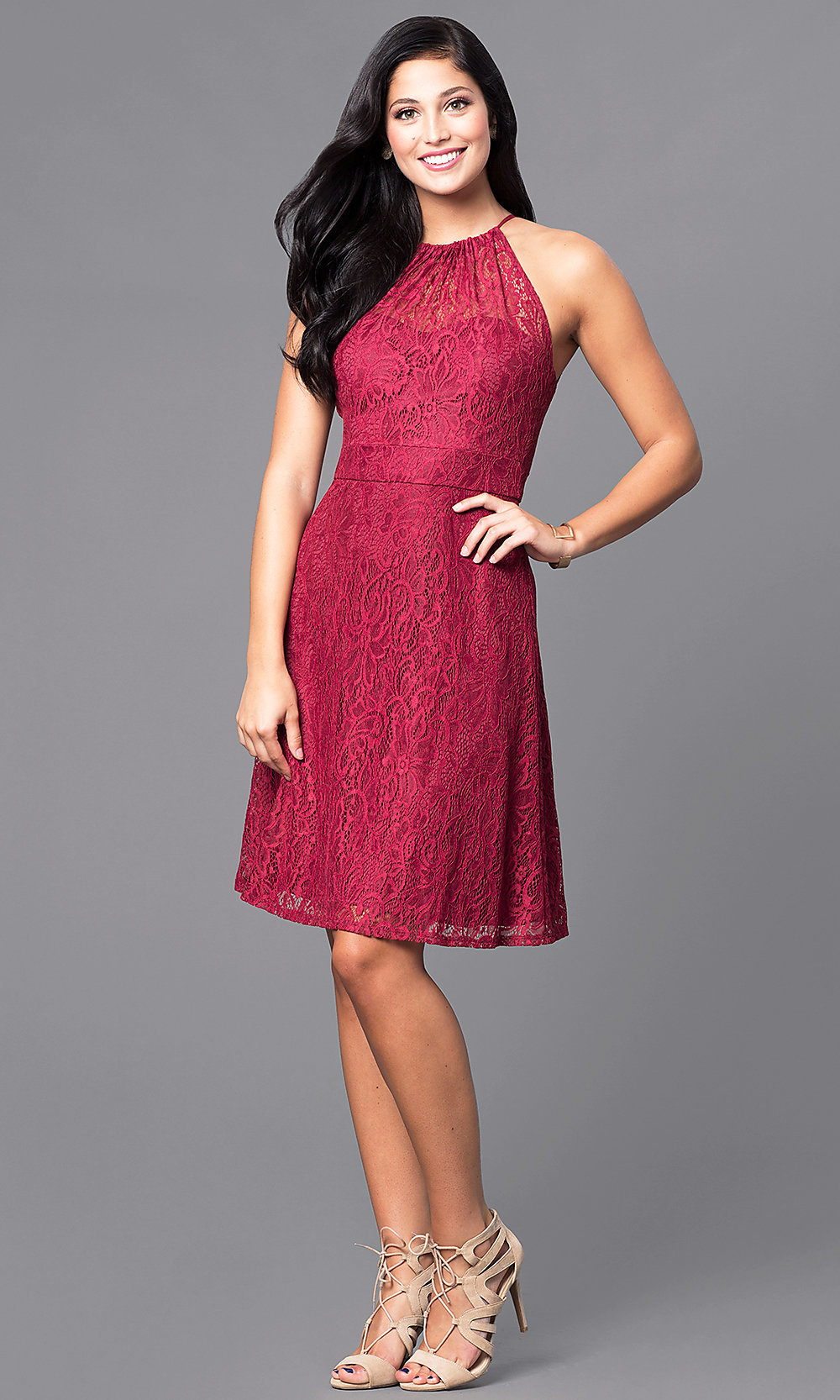 15d14058ab62c ... red knee-length lace holiday party dress. Style: SI-. Tap to expand
