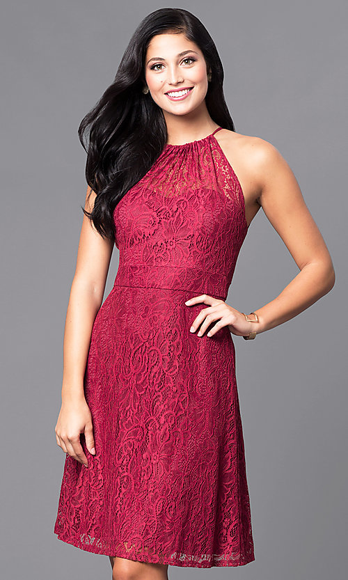 00fc35138bd Image of burgundy red knee-length lace holiday party dress. Style  SI-
