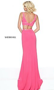 Image of Sherri Hill long formal dress with low v-neck. Style: SH-50814 Back Image
