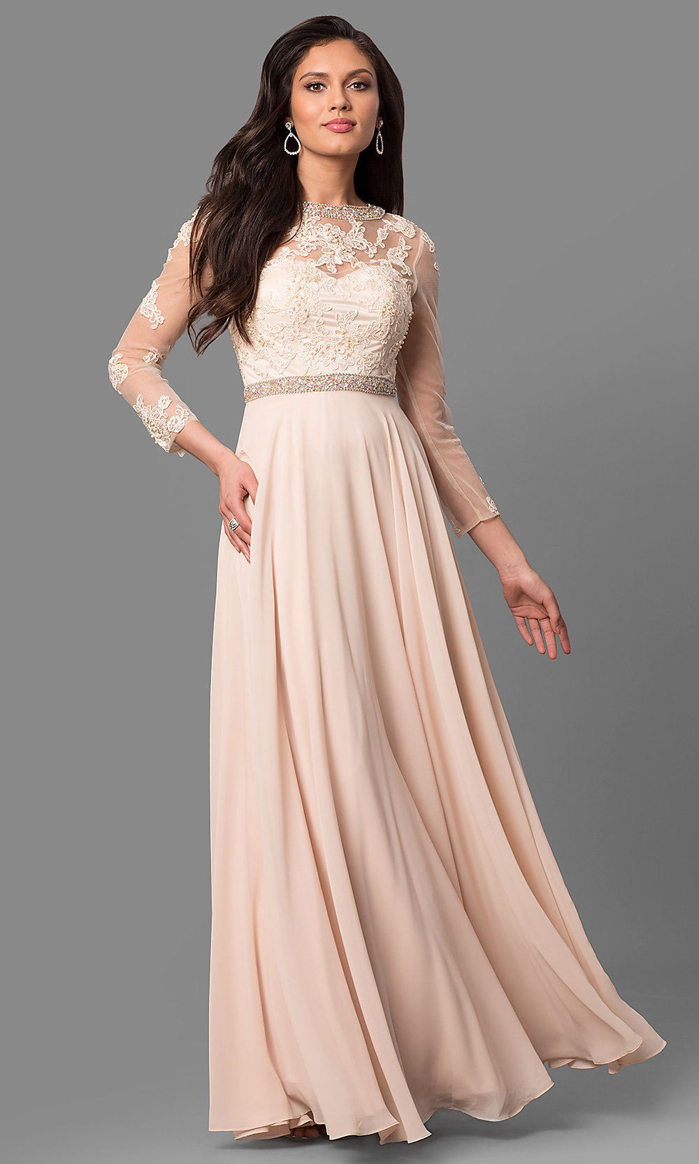 Long-Sleeve Formal Mother-of-the-Bride Long Dress