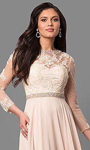 Image of long mother-of-the-bride dress with long sleeves. Style: DQ-9660 Detail Image 3