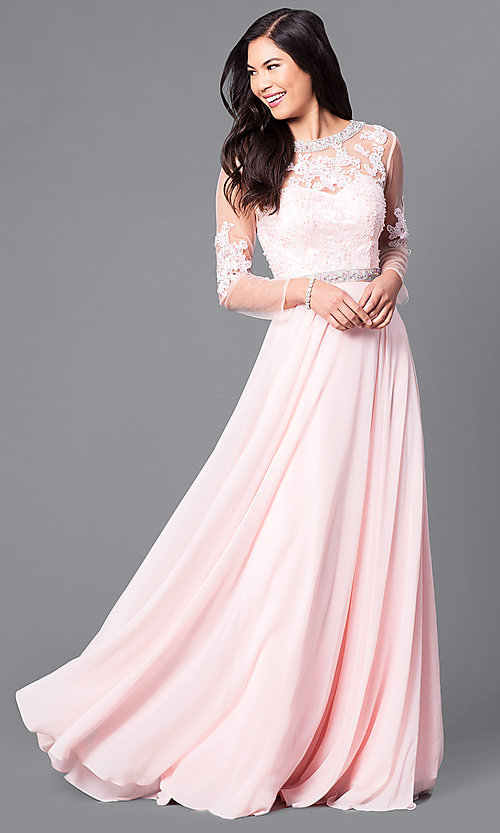 Image of long mother-of-the-bride dress with long sleeves. Style: DQ-9660 Front Image