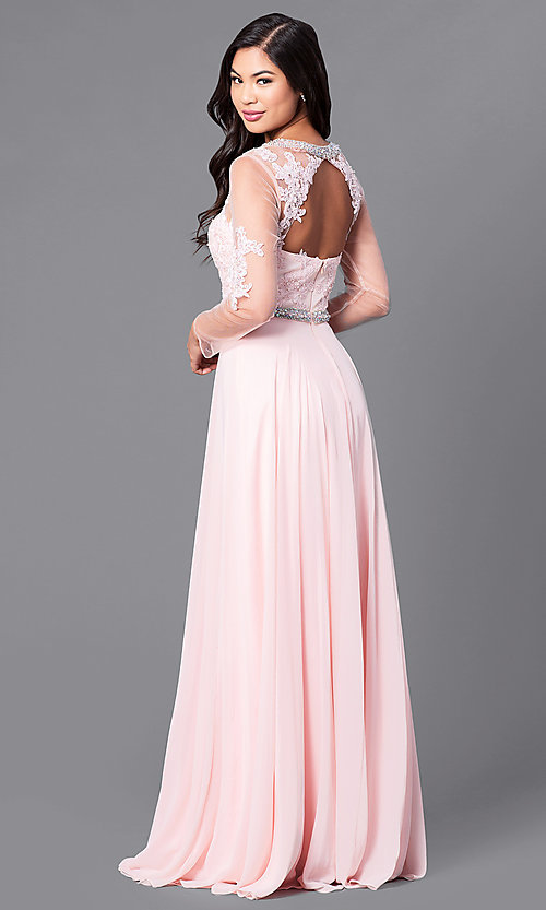 Image of long mother-of-the-bride dress with long sleeves. Style: DQ-9660 Back Image