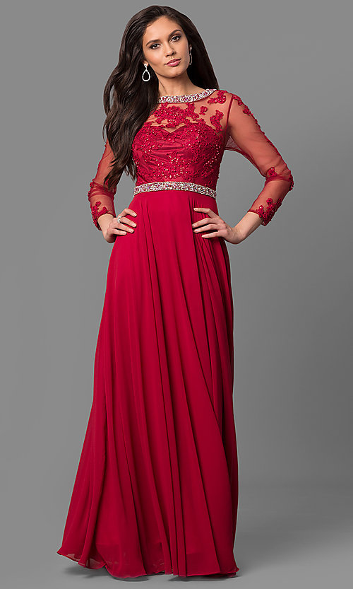 Image of long mother-of-the-bride dress with long sleeves. Style: DQ-9660 Detail Image 1