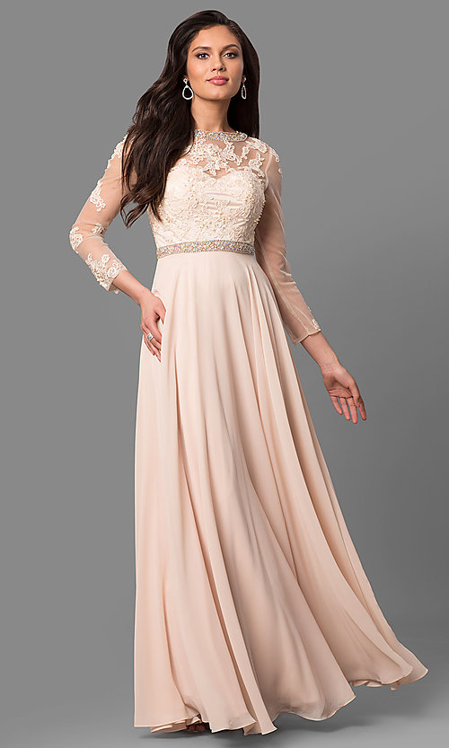 Image of long mother-of-the-bride dress with long sleeves. Style: DQ-9660 Detail Image 2