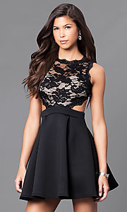Image of mock two-piece short black a-line dress. Style: DC-44500 Front Image