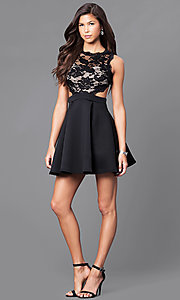 Image of mock two-piece short black a-line dress. Style: DC-44500 Detail Image 1
