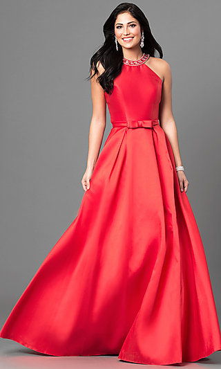 Long Satin Formal Prom Dress with Jeweled Collar