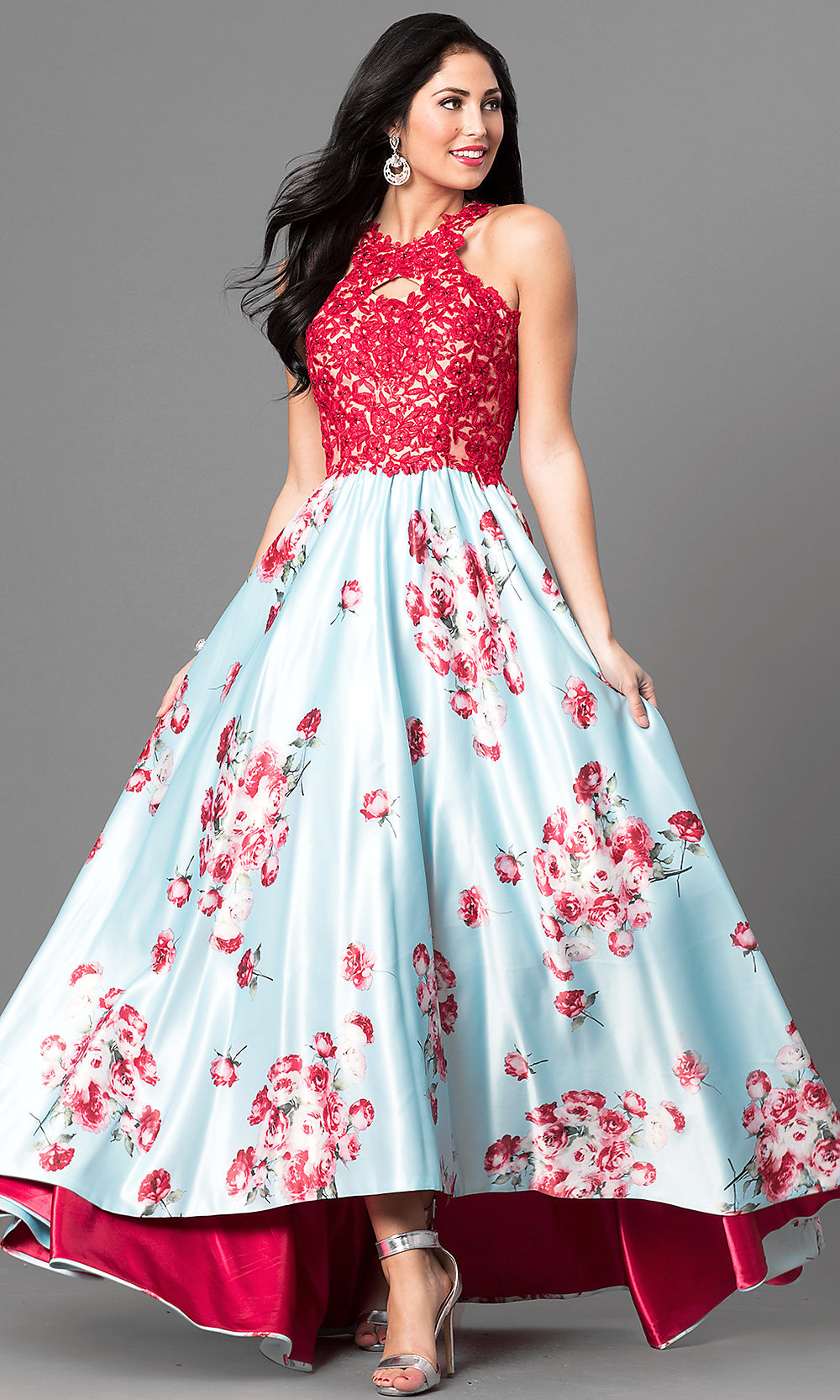 ... high-low prom dress with lace and floral print. Style  Tap to expand f1e1d1cd2