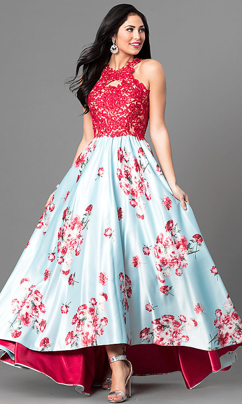 6cfeb6b5faec Image of long high-low prom dress with lace and floral print. Style: