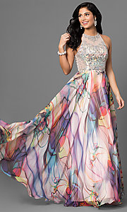 Image of beaded illusion-bodice long print prom dress. Style: TE-6060 Front Image