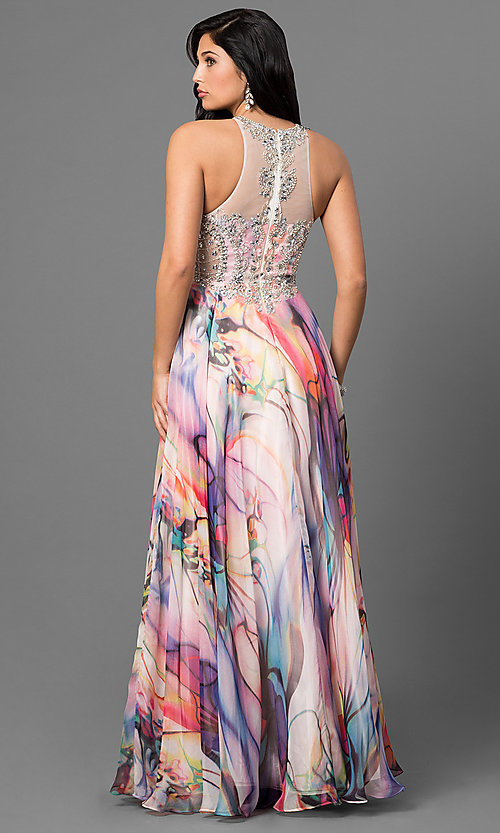 Image of beaded illusion-bodice long print prom dress. Style: TE-6060 Back Image