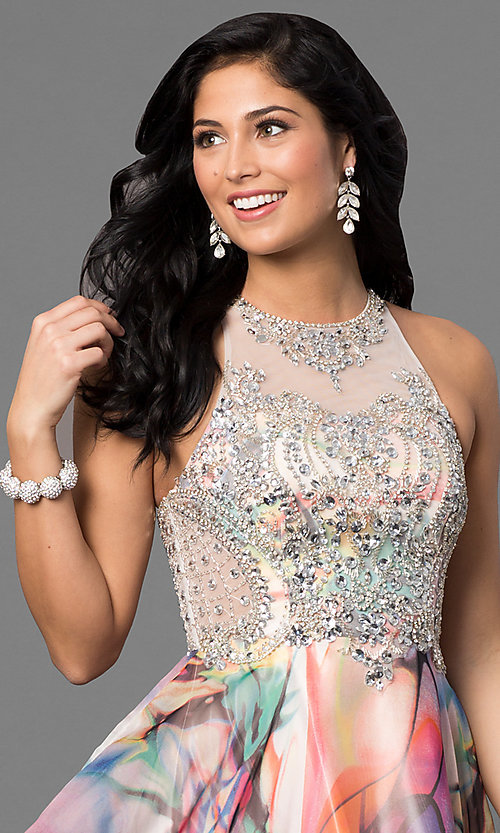 Image of beaded illusion-bodice long print prom dress. Style: TE-6060 Detail Image 1
