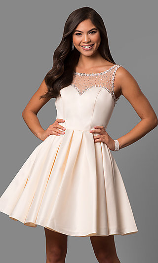 A-Line V-Back Short Semi-Formal Prom Dress