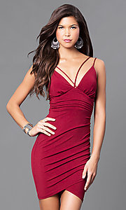 Image of short ruched cocktail party dress with v-neckline. Style: TR-CD51771 Detail Image 1