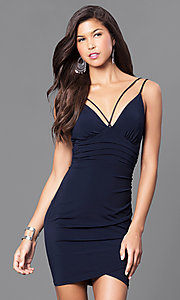 Image of short ruched cocktail party dress with v-neckline. Style: TR-CD51771 Detail Image 2