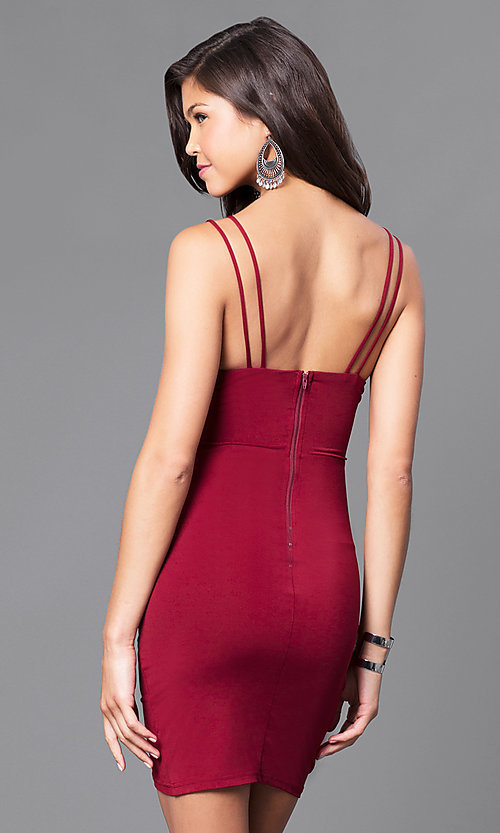 Image of short ruched cocktail party dress with v-neckline. Style: TR-CD51771 Back Image