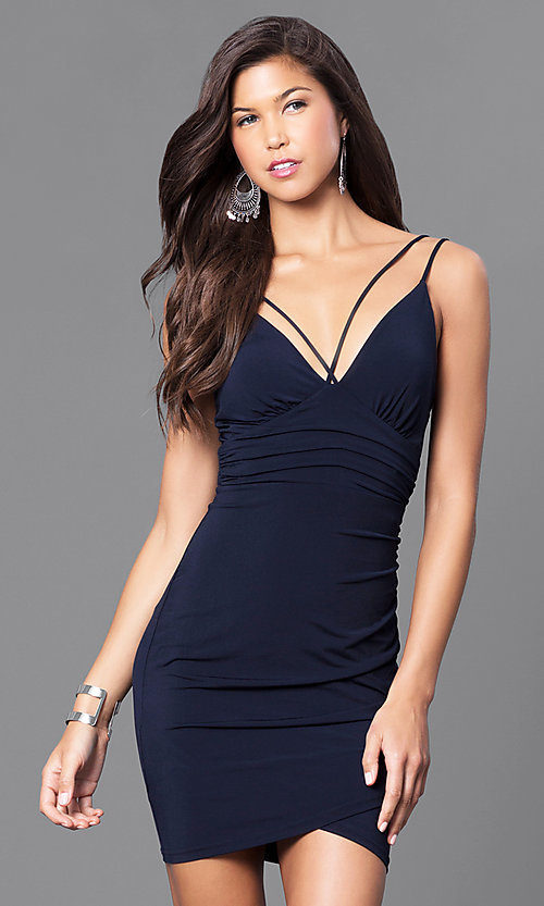 c5373b41ea124 Short Ruched Cocktail Party Dress with V-Neckline