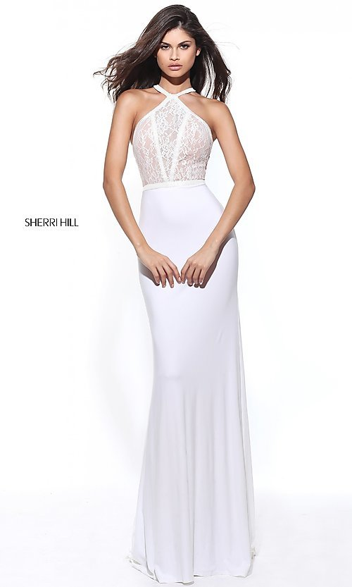Image of racerback Sherri Hill long prom dress with lace. Style: SH-50998 Detail Image 3