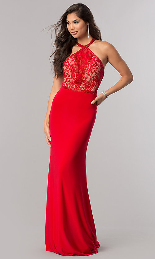 Image of racerback Sherri Hill long prom dress with lace. Style: SH-50998 Front Image
