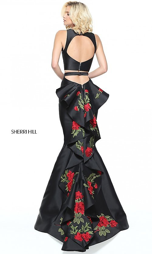 Image of two-piece long prom dress with embroidered train. Style: SH-51027 Front Image