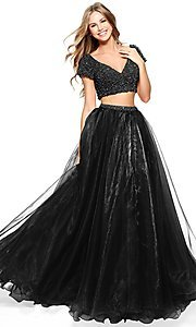 Image of Sherri Hill beaded-top two-piece long prom dress. Style: SH-51039 Detail Image 2