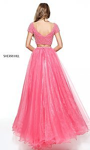 Image of Sherri Hill beaded-top two-piece long prom dress. Style: SH-51039 Back Image