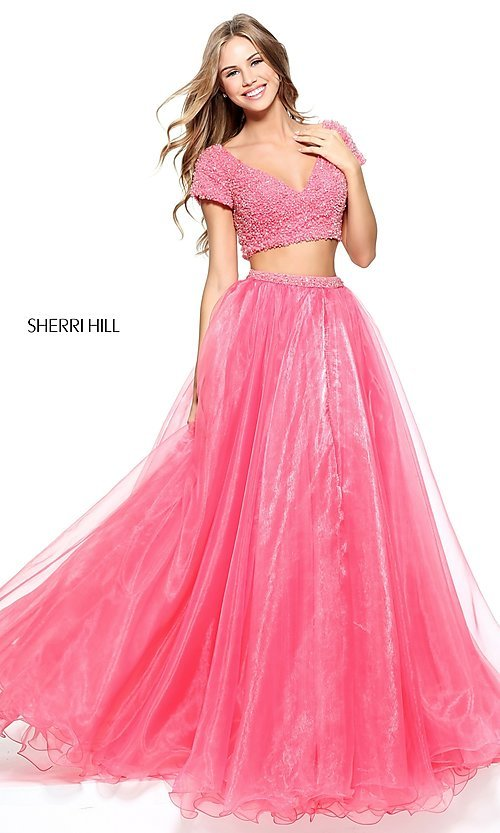 Image of Sherri Hill beaded-top two-piece long prom dress. Style: SH-51039 Detail Image 1