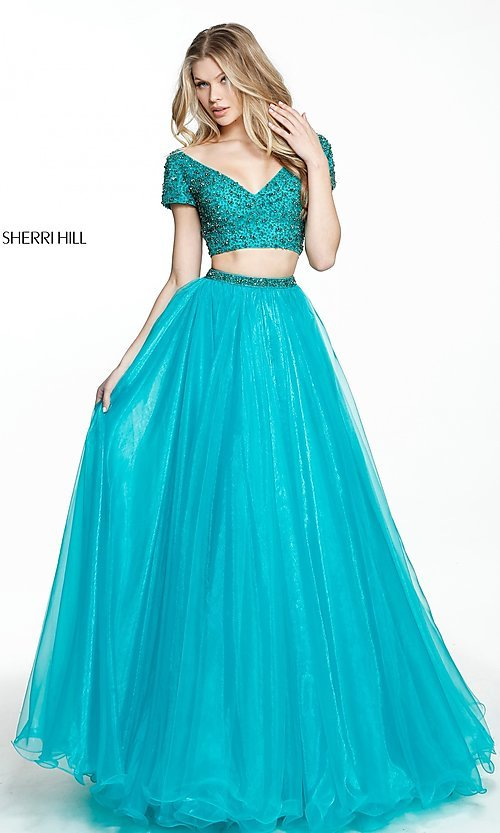 Image of Sherri Hill beaded-top two-piece long prom dress. Style: SH-51039 Front Image