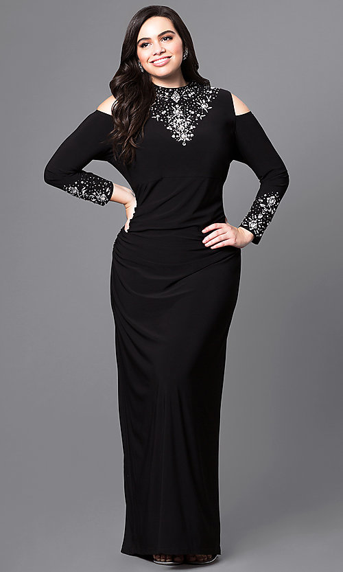 Image of cold-shoulder long black formal dress in plus size.  Style: JU-MA-293258 Front Image