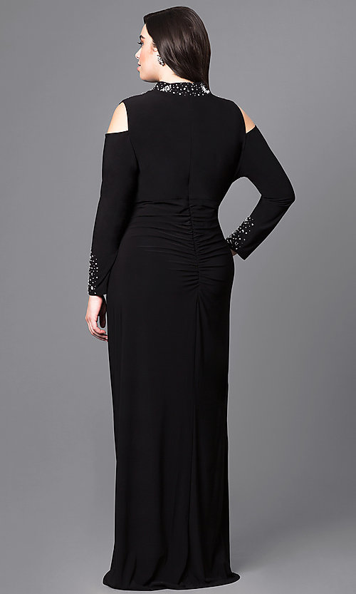 Image of cold-shoulder long black formal dress in plus size.  Style: JU-MA-293258 Back Image