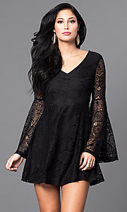 Image of short lace casual-party mini dress with sleeves. Style: VJ-LD41143 Detail Image 2