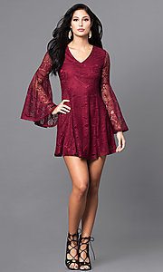 Image of short lace casual-party mini dress with sleeves. Style: VJ-LD41143 Detail Image 1