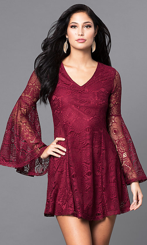 Image of short lace casual-party mini dress with sleeves. Style: VJ-LD41143 Front Image