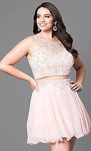 Image of mock two-piece short plus-size party dress with beads. Style: DQ-9550P Front Image